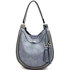 bdf314c91a87 Front view light blue rounded hobo handbag with two tassels on left side Hobo  Handbags