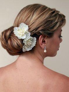 Ivory Beaded Bridal Hair Flower #flower