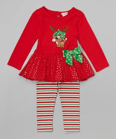 Love this Youngland Red Reindeer Tunic & Stripe Leggings - Infant, Toddler & Girls by Youngland on #zulily! #zulilyfinds