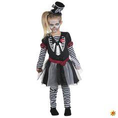 Skelettkleidchen Gr. 116- 152 Mädchen Kleid Leggings Halloween Kostüm für Kinder