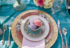 pastel macarons and an amazing place setting