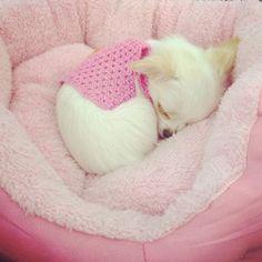 Roupa rosa de crochê.