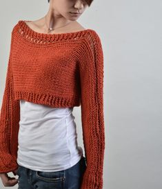 Hand knit sweater Little shrug cover up top in Brick Red Long Cardigan Noir, Crop Top Sweater, Cotton Sweater, Hand Knitted Sweaters, Cool Sweaters, Sweaters For Women, Bauchfreier Pullover, Pull Mohair, Crochet Woman