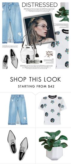 """True Blue: Distressed Denim"" by defivirda ❤ liked on Polyvore featuring SJYP, Victoria, Victoria Beckham, STELLA McCARTNEY, denim, skirt, vogue and distresseddenim"
