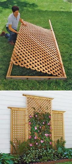 how to build lattice fence panels Set the Lattice in Place How to Build a Trellis This Old House Backyard Privacy, Privacy Fences, Backyard Patio, Privacy Trellis, Privacy Screen Outdoor, Back Yard Privacy Ideas, Privacy Fence Decorations, Privacy Planter, Garden Privacy