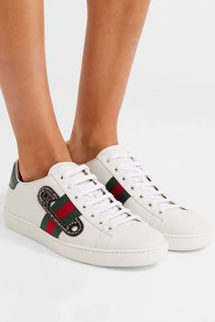 Sole measures approximately  SIZE 37 20mm/ 1 inch White leather, green and red watersnake Lace-up front Watersnake: Indonesia  Made in Italy