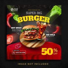 YusufSangdes | Freepik Food Template, Templates, Big Burgers, Burger Menu, World Health Day, Social Media Template, Restaurant Recipes, Food Menu, Spicy