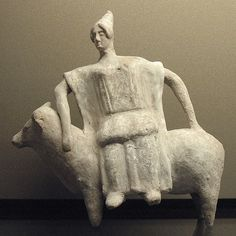 Europa and the white bull. Terracotta figurine from Boeotia, ca. 470 BC–450 BC.