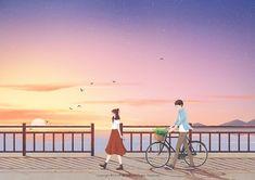 Cute Couple Cartoon, Cute Couple Art, Cartoon Pics, Cartoon Drawings, Anime Scenery Wallpaper, Iphone Background Wallpaper, Laptop Wallpaper, Couple Illustration, Illustration Art