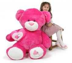 Dark Pink Feet Big Teddy Bear with a heart