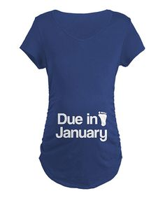 Take a look at this Navy 'Due in January' Maternity Tee - Women on zulily today!