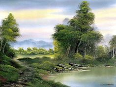 Peaceful Landscape Paintings by Bob Ross - Bob Ross oil paintings : Secluded lake 24