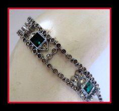 Art Deco Sterling Paste Bracelet 1930's Vintage