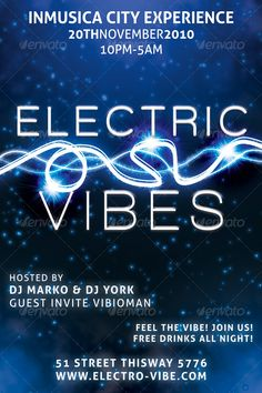 Electric Vibes Music Flyer  #music #promotion #trance • Click here to download ! http://graphicriver.net/item/electric-vibes-music-flyer/122119?s_rank=118&ref=pxcr
