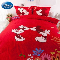 Mickey And Minnie Wine Red Luxury Disney Bedding Sets