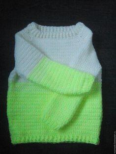Купить Теплый объемный вязаный пуловер - в полоску, свитер, ручная вязка, крючком, большой размер, розовый