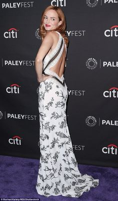 Lovely look: Heather Graham looked gorgeous in a black and white patterned sleeveless and backless gown that pooled around her feet