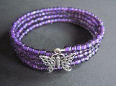 Purple glass wrap bracelet with butterfly by ClassyGlassandJewels, $7.50