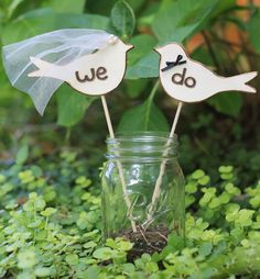 Love Birds Cake Toppers, Cupcake Toppers, Bride Groom Cake Toppers, Rustic Personalized, Table Number Markers, Rustic Wedding