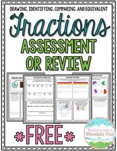 Enjoy this *Free* four-page fraction assessments or printables. There are four pages included, covering drawing and identifying fractions, fractions on a number line, comparing and ordering fractions, and equivalent fractions. 4th Grade Fractions, Teaching Fractions, Fifth Grade Math, Teaching Math, Equivalent Fractions, Ordering Fractions, Fourth Grade, Dividing Fractions, Multiplying Fractions