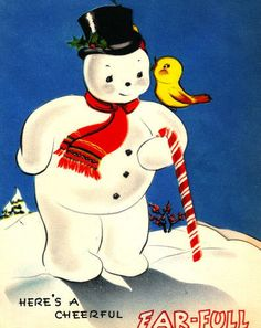 Vintage Christmas Card Snowman Candy Cane Baby Bird