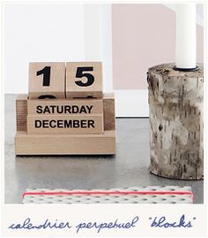 * Blocks calendar - Bird on the wire House Doctor, Block Calendar, Sweet Home, Place Card Holders, Wire, Objects, Woodwind Instrument, Perpetual Calendar, Gift