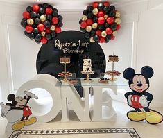 by _ dream_decor Festa Mickey Baby, Mickey Mouse Theme Party, Mickey Mouse Party Decorations, Mickey 1st Birthdays, Fiesta Mickey Mouse, Mickey Mouse First Birthday, Mickey Mouse Clubhouse Birthday Party, Birthday Balloon Decorations, Mickey Mouse Cupcakes