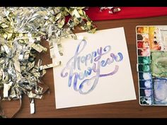 Happy New Year Watercolor, Paper by JLee - YouTube Watercolor Lettering, Watercolor Paper, Stationery Shop, Paper Goods, Happy New Year, Custom Design, Invitations, Create, Youtube