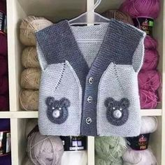 21 Ideas Knitting Sweaters For Boys Baby Vest For Häkelanleitung Baby, Baby Boy Vest, Baby Boy Cardigan, Baby Boy Jackets, Baby Boys, Baby Knitting Patterns, Knitting For Kids, Crochet For Kids, Crochet Baby Cardigan