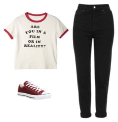 """Untitled #574"" by danieledepaula on Polyvore featuring Topshop and Converse"