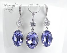 Tanzanite Earrings Necklace Set Swarovski Crystal Oval Bridal Jewelry Set Lavender Lilac Bridesmaid Gift Wedding Jewelry December Birthstone