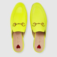 Princetown leather slipper in Fluorescent yellow leather Dream Shoes, Crazy Shoes, Gucci Fashion, Fashion Shoes, Mules Shoes Flat, Flats, Gucci Gang, Nike Shoes Air Force, Baskets
