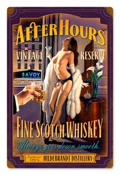 Vintage After Hours Scotch  - Pin-Up Girl Metal Sign, $39.97 #retro #vintage #homedecor #jackandfriends #tinsign #metalsign