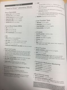 Lab values for NCLEX