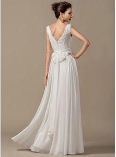 A-Line/Princess V-neck Floor-Length Bow(s) Cascading Ruffles Zipper Up Regular Straps Sleeveless Beach Hall General Plus No Spring Summer Ivory Chiffon Wedding Dress