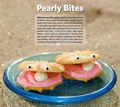 10 fun school snacks. Shell cookies, pink frosting, and a yogurt-covered raisin for the pearl make a fun sea-themed treat!