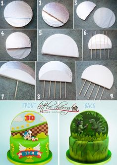 Little Cherry Cake Company Tutorial for double sided cake backdrop Cake Decorating Techniques, Cake Decorating Tutorials, Cookie Decorating, Decorating Supplies, Decorating Ideas, Bolo Sonic, Sonic Cake, Cake Toppers, Cake Structure
