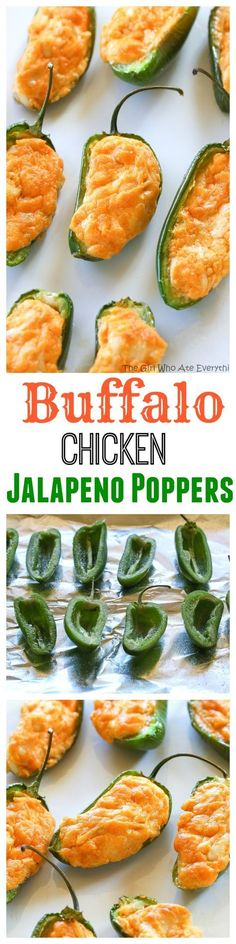 Buffalo Chicken Jalapeno Poppers – The Girl Who Ate Everything Buffalo Chicken Jalapeno Poppers – buffalo chicken dip meets jalapenos! Game food right here. Buffalo Chicken, Chicken Jalapeno, Jalapeno Poppers, I Love Food, Good Food, Yummy Food, Tasty, Finger Food Appetizers, Appetizer Recipes