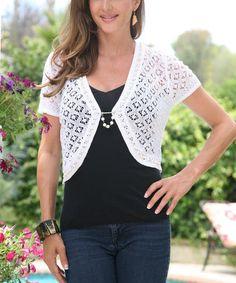 Look at this #zulilyfind! White Crochet Beaded Shrug #zulilyfinds