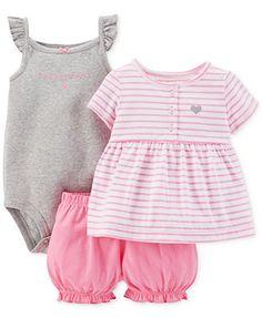 Carter's Baby Girls' 3-Piece Tee, Bodysuit & Diaper Cover Set