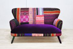 Patchwork sofa - deep purple