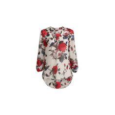 Floral μπλουζα με V λαιμο , μακριά μανίκια, κοντό στρίφωμα μπροστά και μακρύ πίσω, casual ,κομψή εμφάνιση και άνετη για κάθε περίσταση