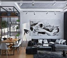 Small artsy monochromatic loft with a luxe vibe