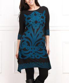 Look what I found on #zulily! Blue & Black Damask Sidetail Dress - Plus #zulilyfinds
