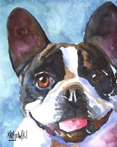 French Bulldog Art Print of Original Watercolor by dogartstudio