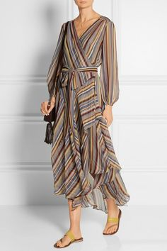 Zimmermann | Ticking striped silk-crepe wrap midi dress | NET-A-PORTER.COM