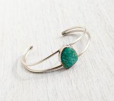 Vintage Sterling Silver Amazonite Cuff Bracelet -  Retro Native American Split Band Jewelry / Semi Precious Green Stone