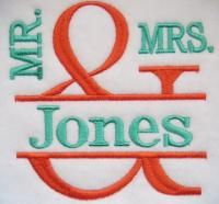 Mr. and Mrs. Frame Satin Embroidery Design   Apex Embroidery Designs, Monogram Fonts & Alphabets
