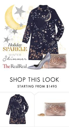 """Holiday Sparkle With The RealReal: Contest Entry"" by shoppe23online ❤ liked on Polyvore featuring Valentino, Chanel and Manolo Blahnik"