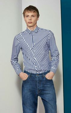 YUNY Men Long Sleeves Slim Fit Color Conjoin Striped Collar Shirt Grey 2XL